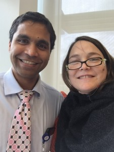 Dr. Asthagiri, surgeon, and Fran Cannon Slayton, patient